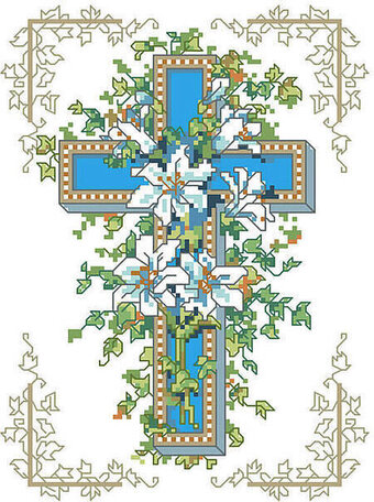 Lilies of the Cross - Christian Cross Stitch Pattern
