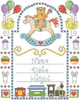 Rocking Horse Birth Record - Cross Stitch Pattern