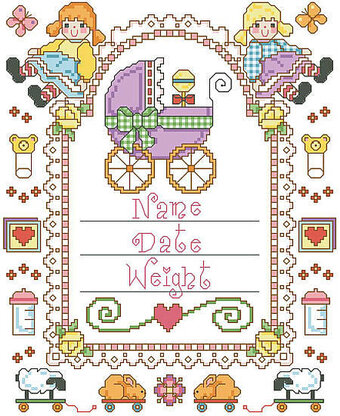Baby Carriage Birth Record - Cross Stitch Pattern