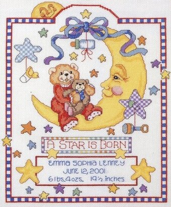 Celestial Moon Birth Record - Cross Stitch Pattern