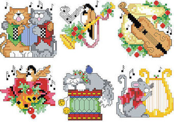 Musical Christmas Ornaments - Cross Stitch Pattern