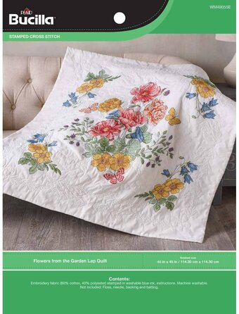 Flowers From The Garden - Stamped Cross Stitch Lap Quilt Kit