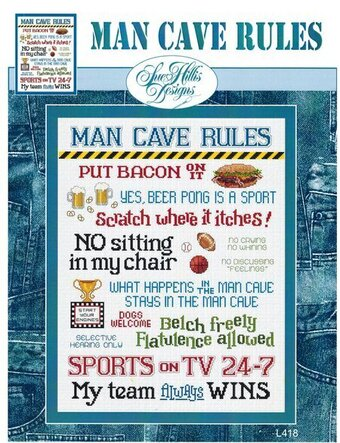 Man Cave Rules - Cross Stitch Pattern