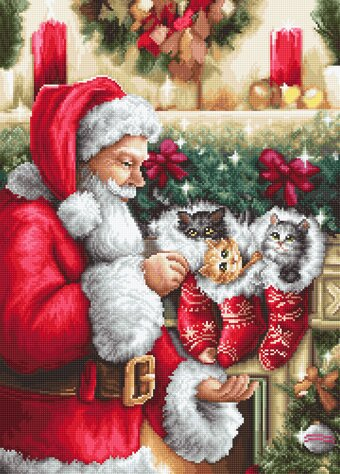 Santa Claus with Kittens - Christmas Cross Stitch Kit