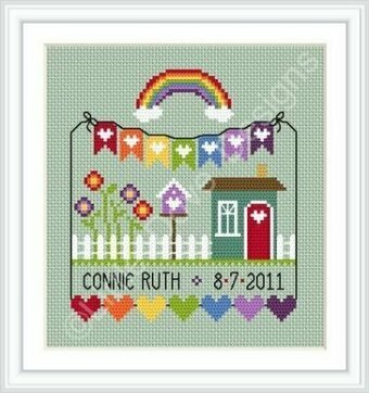 Rainbow Birth Sampler - Cross Stitch Pattern
