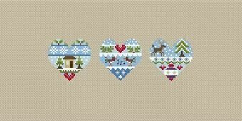 Festive Hearts - Cross Stitch Pattern