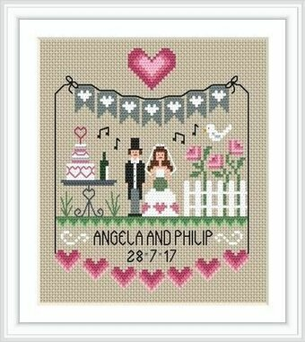 Pink Hearts Wedding Sampler - Cross Stitch Pattern