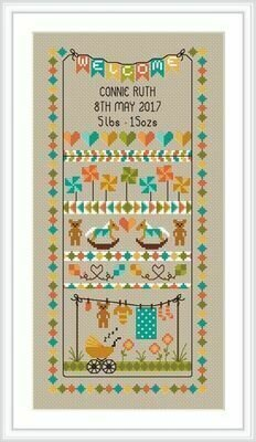 Baby Bunting Birth Sampler - Cross Stitch Pattern