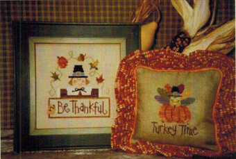 Turkey Time - w/button - Cross Stitch Pattern