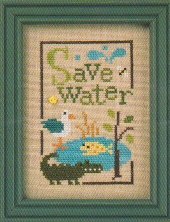 Green Flip-It - Save Water - Cross Stitch Pattern