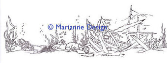 Underwater - Marianne Design Clear Stamp - Hetty's Border