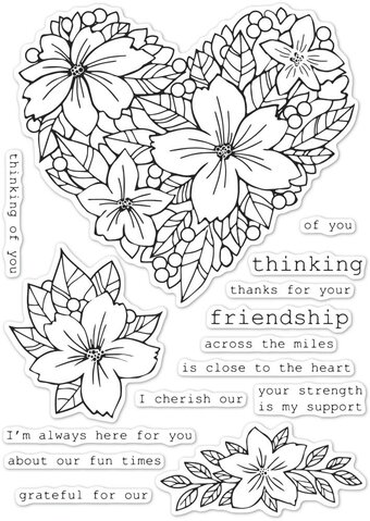 Friendship Floral Heart - Valentine's Memory Box Clear Stamp