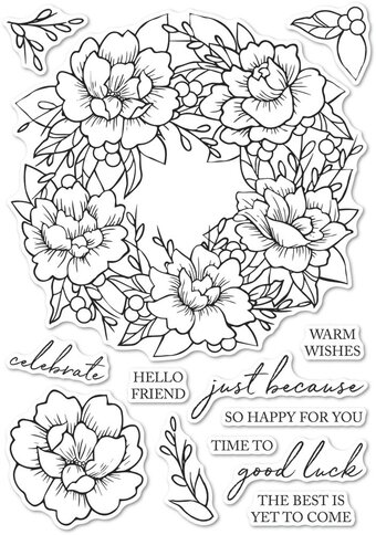 Peony Garden Wreath - Clear Stamp
