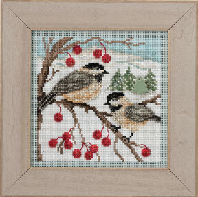 Chickadees - Beaded Cross Stitch Kit