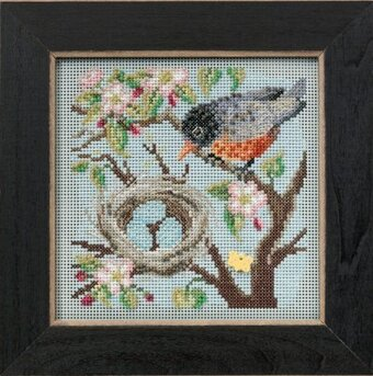 Spring Robin - Beaded Cross Stitch Kit
