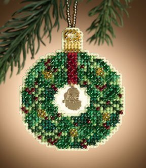 Emerald Wreath - Beaded Cross Stitch Kit