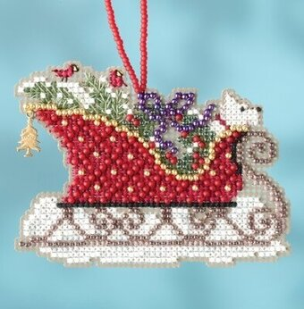 Evergreen Sleigh - Beaded Cross Stitch Kit