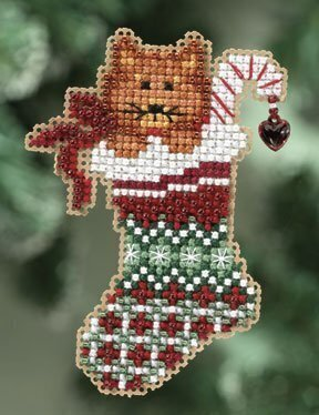 Kitty's Stocking - Beaded Cross Stitch Kit