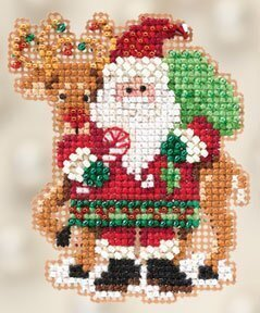 Santa & Rudolph - Beaded Cross Stitch Kit
