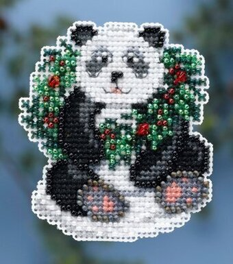 Holiday Panda - Beaded Cross Stitch Kit