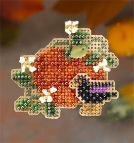 Plaid Pumpkin - Beaded Cross Stitch Kit