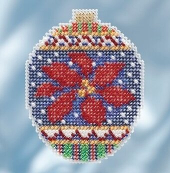 Christmas Poinsettia - Beaded Cross Stitch Kit