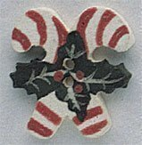 Double Holly Candy Canes Button