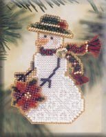Poinsettia Snow Charmer - Beaded Cross Stitch Kit