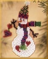 Folk Heart Snow Charmer - Beaded Cross Stitch Kit