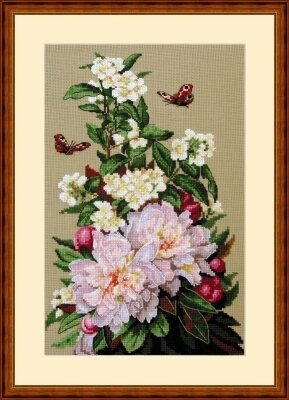 Peonies - Cross Stitch Kit