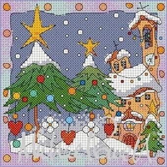 Festive Village Church - Cross Stitch Pattern