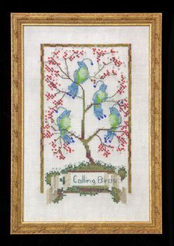 Four Calling Birds - 12 Days of Christmas - Cross Stitch