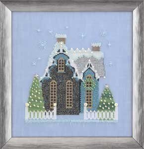 Little Snowy Blue Cottage - Cross Stitch Pattern