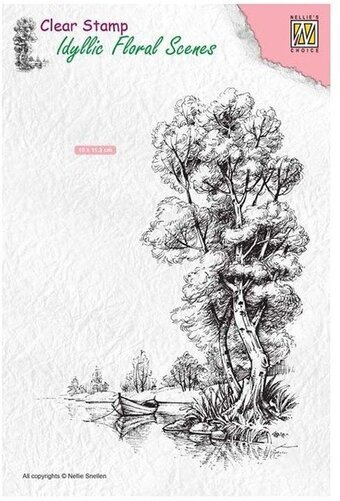Tree with Boat - Nellie's Choice Clear Stamp