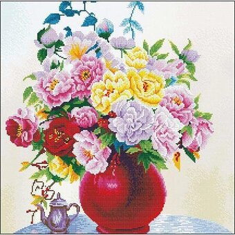 Cabbage Roses In A Vase - Pre-Printed Cross Stitch Kit