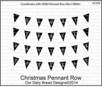 Christmas Pennant Row - Cling Rubber Stamp