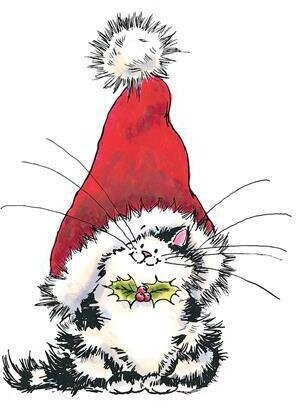 Jolly Xmas Kitty - Rubber Stamp