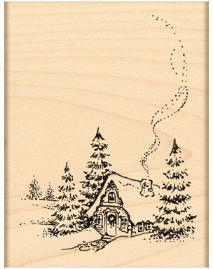 Christmas Cottage - Rubber Stamp