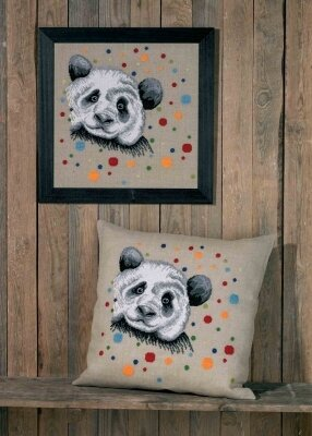 White Panda Cushion - Cross Stitch Kit