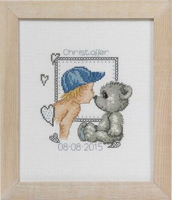 Boy and Teddy Birth Announcement - Cross Stitch Kit