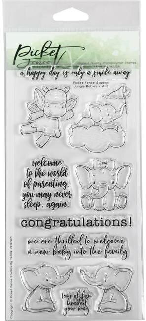 Jungle Babies - Picket Fence Studios Clear Stamp