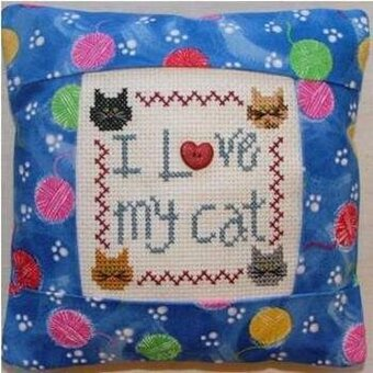I Love my Cat Pillow Kit - Cross Stitch Kit
