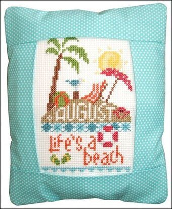 August Life's A Beach Pillow - Cross Stitch Kit