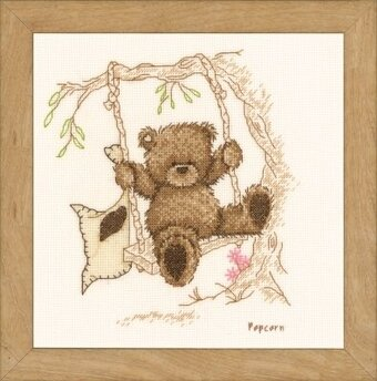 Popcorn Bear Swinging - Popcorn the Bear - Cross Stitch Kit