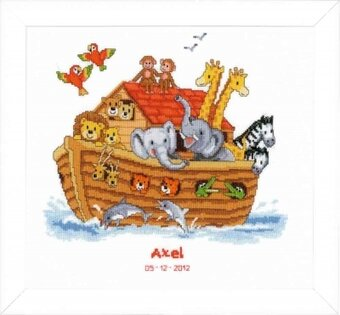 Noah's Ark Birth Sampler - Cross Stitch Kit