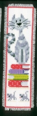 Cat on Book Pile Bookmark - Cross Stitch Kit