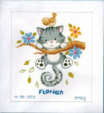 Cat Hanging From a Branch Birth Sampler - Cross Stitch Kit