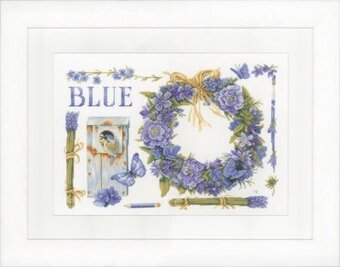 Lavender Wreath and Blue Tit - Cross Stitch Kit