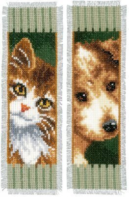 Cat and Dog Bookmarks - Cross Stitch Kit