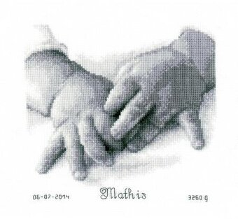Baby Hands Birth Record On Aida - Cross Stitch Kit